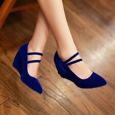 Womens Wedge Heels Ankle Strap Faux Suede Pumps Pointed Toe Bowtie Shoes Plus Sz