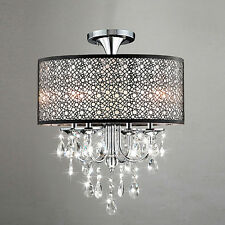 Modern 5 Light Crystal Chandelier Drum Shade Pendant Round Lamp Ceiling Lighting