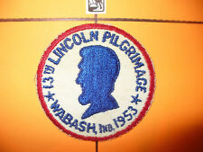 1953 Abraham Lincoln Pilgrimage, BSA Patch,pp,Red C/E, 13th,Wabash,Indiana,IN,IL