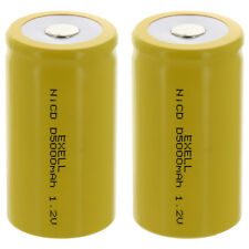 2x Exell D Size 1.2V 5000mAh NiCD Flat Top Rechargeable Batteries FAST USA SHIP