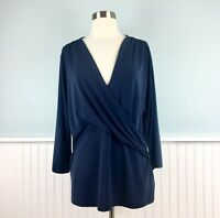 Size 2X Charter Club Stretch Wrap Over V Neck Top Blouse Shirt Women's Plus NWT