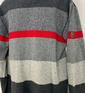Unionbay Mens Sweater Lambswool Striped Patch Crewneck Gray Red Size XL