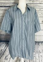 White Stag Women's 2X Blouse Short Sleeves Button Down V Neck Striped Blue Soft