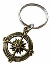 Bronze Open Metal Compass Keychain - I'd Be Lost Without You 8 Year Anniversary