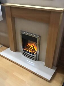 Oak effect surround with Marfil marble set, back panel and hearth
