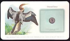 Oriental Etheostoma Singapur asiático 1979 Moneda en tarjeta de preservación de Pájaros Aves