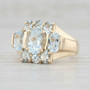 New 2.8ctw Aquamarine Ring 10k Yellow Gold Size 7 Cocktail March Birthstone