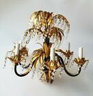 Vintage Tole Gilded Gilt Leaves 6-Arm Palm Chandelier Crystals with Italy Tag