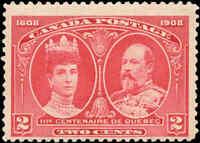 Mint Canada F+ Scott #98 2c 1908 Quebec Tercentenary Issue Stamp Never Hinged