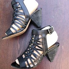 VINCE CAMUTO Size 7 Cutout Cone Heel Black Leather Gladiator Cage Sandals EUC