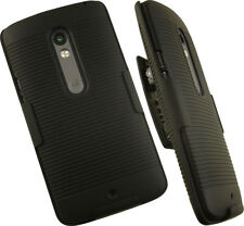 BLACK HARD CASE COVER + BELT CLIP HOLSTER STAND FOR MOTOROLA MOTO X PLAY PHONE