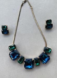 Collier Glas Grün Blau mit Ohrringen