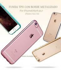FUNDA SILICONA CROMADO Para iPhone 6 6S 6G GEL ULTRASLIM BORDE EFECTO METALIZADO