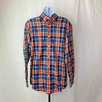 Orvis Mens Shirt Size Small Blue Orange Plaid Button Down Long Sleeve