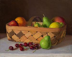 "Original oil painting still life fruits basket pears cherries 14x11"", Y Wang"