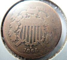 1864 2 Cent TWO CENTS Copper Coin - Civil War Era Coin
