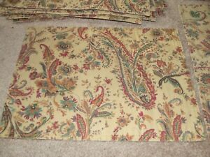 6 PLACE MATS & 6 CLOTH Dinner NAPKINS Chaps Home Ralph Lauren Paisley & Floral