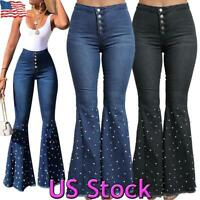 Womens Flare Blue Denim Jeans Bell Bottom Stretch High Waist Pants Trousers US