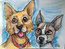 Custom Pet Caricature Art - 2 pets / heads or full body- color ( 8 1/2 x 11)