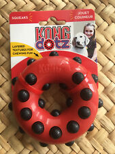 Kong Dotz Textured Squeaky Dog Puppy Toy Round- Size Small