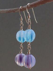 Art Deco Purple & Aqua Opalescent Vaseline Glass 14ct Rolled Gold Earrings
