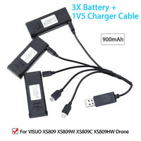 3x Duable 3.7V 900mAh Rechargeable Battery +1V5 Charger Cable For XS809HW Drone