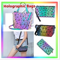 Hot Geometric Drawstring Backpack Women Holographic Laser Leather Travel Casual