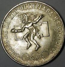 1968 Mexico BU Silver 25 Pesos Olympic Games Aztec Mayan Coin