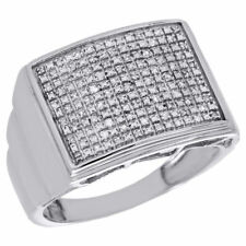 .925 Sterling Silver & Diamond Pinky Ring Wide Square 16MM 0.24 Ct.