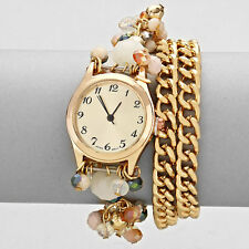 Gold and Multi Acrylic Beads Chain Wrap Wrist Watch