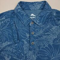 Tommy Bahama Long Sleeve Hawaiian Polo Shirt Mens Size Large Floral Teal Blue