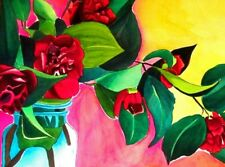 ORIGINAL ART - Red Camellia with green watercolour