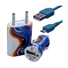 Mini Chargeur 3en1 Auto + Secteur USB + Câble Data avec CV15 pour HTC : One /