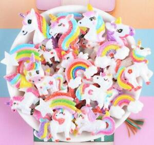 30Pcs Mixed Bling Resin Unicorn Rainbows Flatback Buttons for Crafts Decorations
