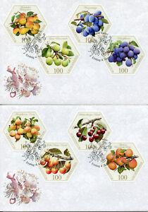 Liechtenstein 2017 FDC Old Fruit Varieties Stone Fruits 8v Set 2 Covers Stamps