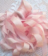 "100%PURE SILK RIBBON 1/2""[13MM] WIDE 5 YD CARD~PALE/PINK  ~COLOR"