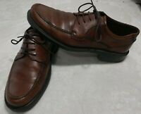 Ecco Men Brown Leather Oxford Dress Shoes Size 44 US 10 Lace Up Moc Toe NEW.