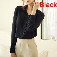 Fashion Women Chiffon Blouse Long Sleeve Shirt Women Tops Office Lady Top  DSUK