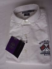 NEW Ralph Lauren Mens WIMBLEDON White Cotton Long Sleeve Shirt MEDIUM RRP £99