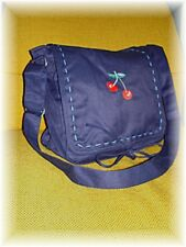 Blue School Bag w Emroidered Red Cherry Patch 1379 Shoulder Messenger Stitching