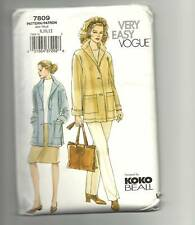 VOGUE 7809 jacket skirt pant suit Koko Beall SZ 8 10 12 UNCUT FF