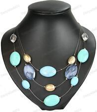 VEINED TURQUOISE blue BEAD NECKLACE faceted beads 3-strand BOHO MIX facet