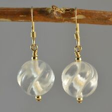 14k Gold Filled Clear Quartz Carved  Round Earrings