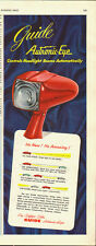 1952 Vintage ad for Guide Autronic-Eye~headlamp beams (091113)