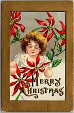 "Artist-Signed H.B. GRIGGS Postcard ""MERRY CHRISTMAS"" Girl / Poinsettia Flowers"