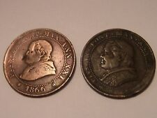 2 LOT PAPAL STATES COINS 1866 & 1867