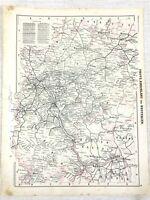 1898 Antik Eisenbahn Karte Köln Deutschland Mainz Frankfurt Düsseldorf Munster