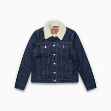 Levis Sherpa Womens Trucker Jacket Color Dark Blue 002