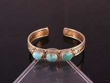 Adjustable Tibetan 3-color Copper 3 Big Turquoise Dorje Amulet Cuff Bracelet