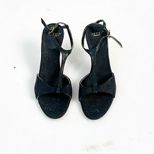 GUCCI CONE HEELS SIZE 9 GUCCISSMA  BLACK LEATHER OPEN TOE MADE IN ITALY